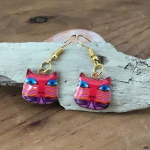 Silly Colorful Cat Dangling Earrings